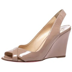 Christian Louboutin Beige Patent Leather Peep Toe Marpoil Wedge Sandals Size 38