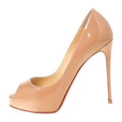 Christian Louboutin Beige Patent Leather Peep Toe Platform Pumps Size 37