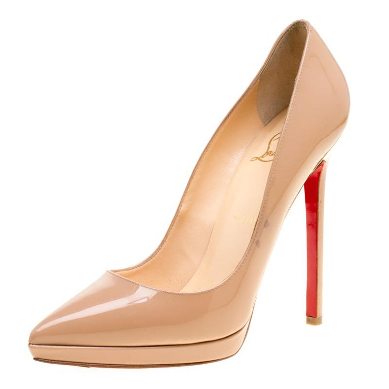 9569261a014 Christian Louboutin Beige Patent Leather Pigalle Plato Pumps Size 37 For  Sale
