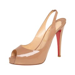 Christian Louboutin Beige Patent Leather Private Number Sandals Size 38.5