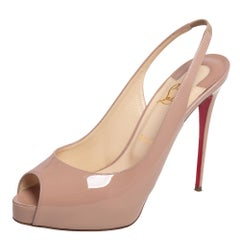 Christian Louboutin Beige Patent Leather Private Number Slingback Sandals Size 4