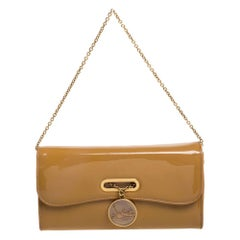 Christian Louboutin Beige Patent Leather Riviera Clutch