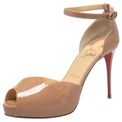 Christian Louboutin Beige Patent Leather Round Ankle Strap Sandals Size 38