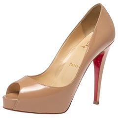 Christian Louboutin Beige Patent Leather Very Prive Peep Toe Pumps Size 36.5
