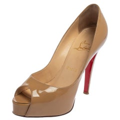 Christian Louboutin Beige Patent Leather Very Prive Pumps Size 36
