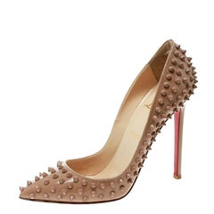 Christian Louboutin Beige Patent Pigalle Spikes Pumps Size 38.5