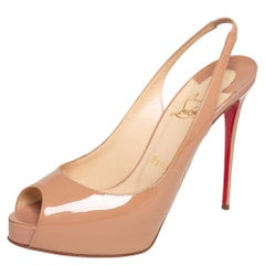 Christian Louboutin Beige Private Number Peep Toe Slingback Sandals Size 38.5