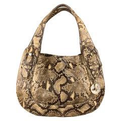 CHRISTIAN LOUBOUTIN Beige Snake Skin Hobo Buckle Shoulder Handbag
