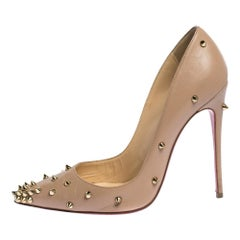 Christian Louboutin Beige Spike Embellished Leather  Pointed Toe Pumps Size 37.5