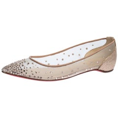 Christian Louboutin Beige Strass Pointed Toe Ballet Flats Size 35.5
