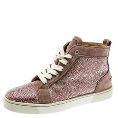 Christian Louboutin Beige Strass Suede Louis High Top Sneakers Size 37