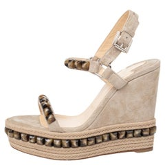 Christian Louboutin Beige Suede Beads Cataclou Wedge Ankle Strap Sandals Size 36