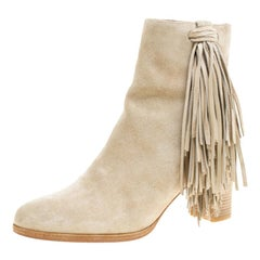 Christian Louboutin Beige Suede Tassel Detail Block Heel Ankle Boots Size 37.5
