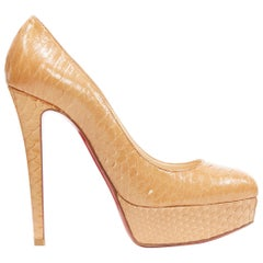 CHRISTIAN LOUBOUTIN Bianca 130 beige brown scaled leather platform pump EU36.5