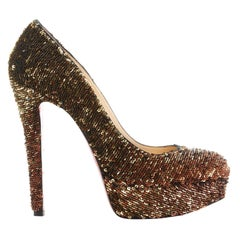 CHRISTIAN LOUBOUTIN Bianca 140 gold sequins platform almond toe pumps heels EU38
