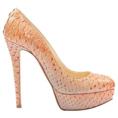 CHRISTIAN LOUBOUTIN Bianca 140 orange genuine python almond platform pump EU36.5