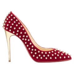 CHRISTIAN LOUBOUTIN Billy 100 red velvet gold ball stud embellished pump EU37.5
