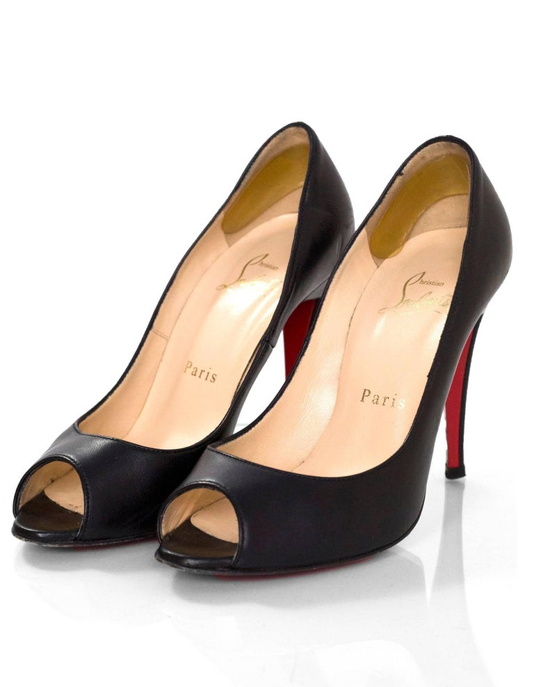 63459e9fb5 Christian Louboutin Black Altadamia 100 Peep-Toe Pumps Sz 35.5 Made In:  Italy Color