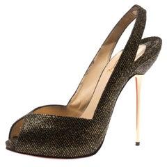 Christian Louboutin Black And Gold Glitter  Slingback Sandals Size 38.5