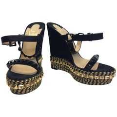 Christian Louboutin Black and Gold Studded Wedges