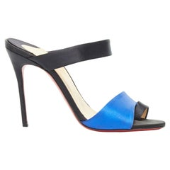 CHRISTIAN LOUBOUTIN black blue satin toe ring strap mule heel sandals EU37.5