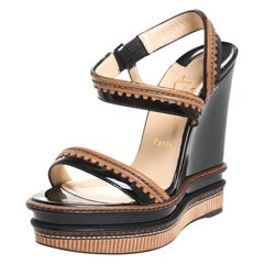 Christian Louboutin Black/Brown Patent And Leather Wedge Platform Sandals Size
