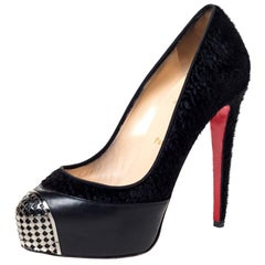 Christian Louboutin Black Calf Hair and Leather Maggie Cap Toe Pumps Size 38