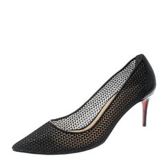 Christian Louboutin Black Chevron Mesh Saramor Maille Pointed Toe Pumps Size 38