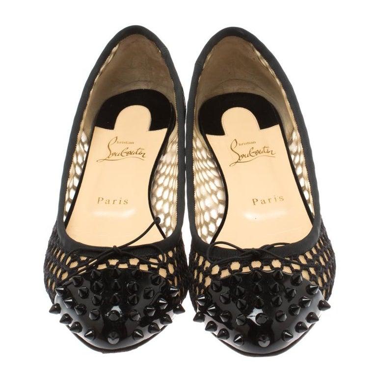 half off 5d412 adce7 Christian Louboutin Black Cord Mix Spike Cap Toe Ballet Flat Size 40.5
