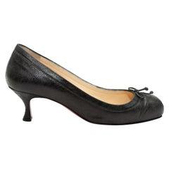 Christian Louboutin Black Crackled Leather Kitten Heels