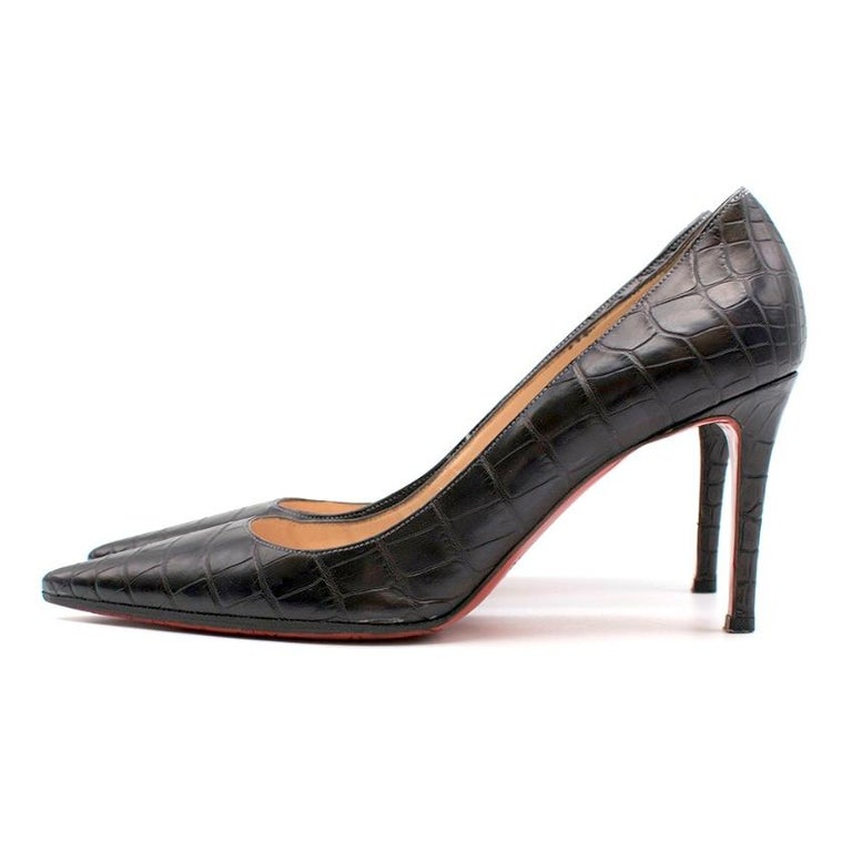 Christian Louboutin Black Crocodile Embossed Pointed Toe Pumps 38 For Sale 1