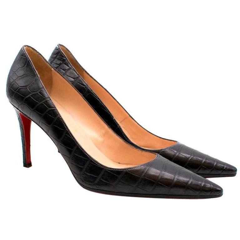 Christian Louboutin Black Crocodile Embossed Pointed Toe Pumps 38 For Sale