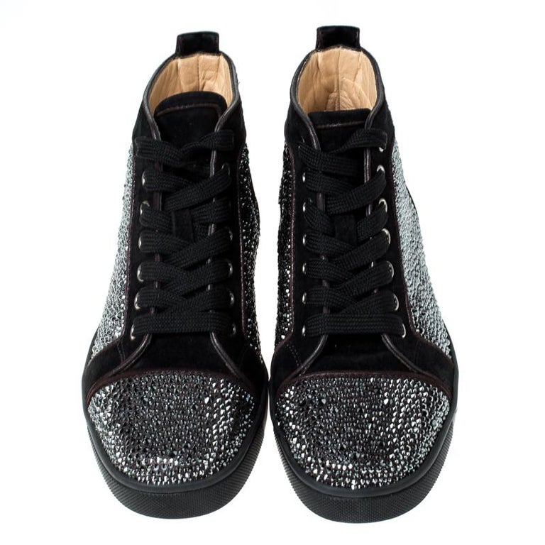 Christian Louboutin Black  Crystal Embellished High Top Sneakers Size 35 In Good Condition For Sale In Dubai, Al Qouz 2