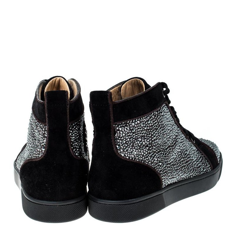 Christian Louboutin Black  Crystal Embellished High Top Sneakers Size 35 For Sale 2
