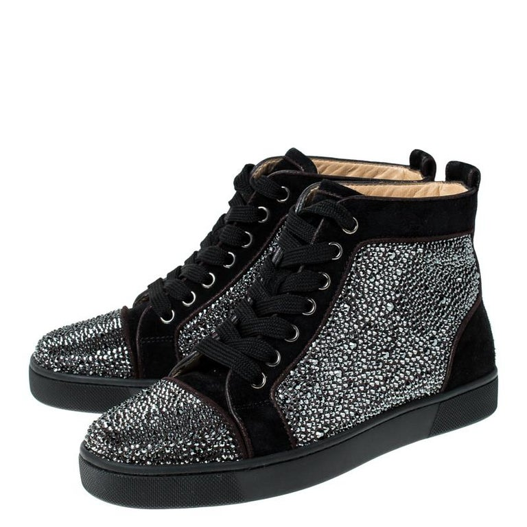 Christian Louboutin Black  Crystal Embellished High Top Sneakers Size 35 For Sale 3
