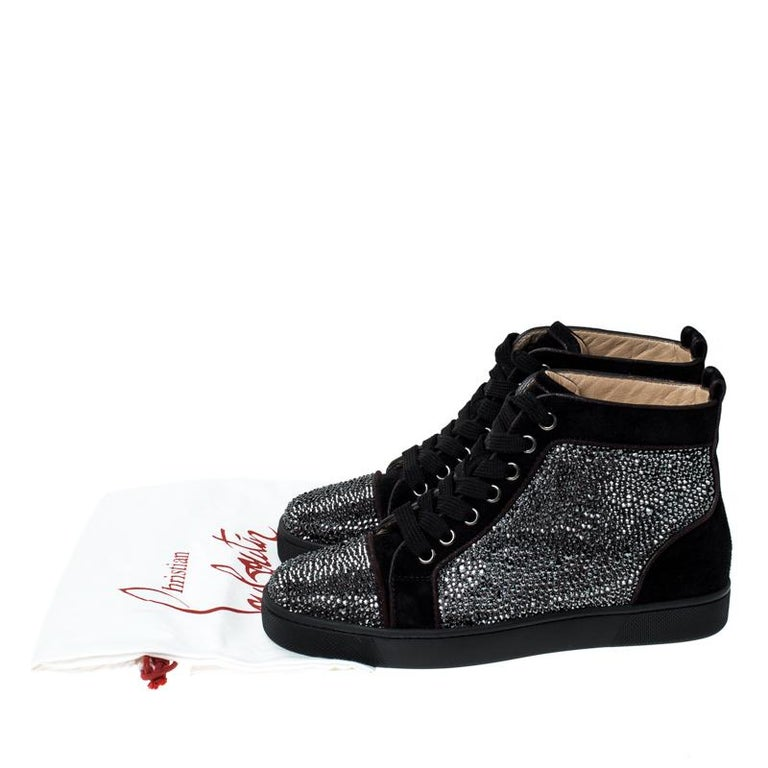 Christian Louboutin Black  Crystal Embellished High Top Sneakers Size 35 For Sale 4