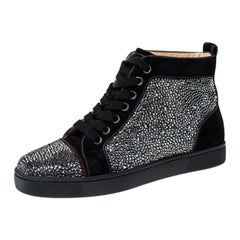 Christian Louboutin Black  Crystal Embellished High Top Sneakers Size 35