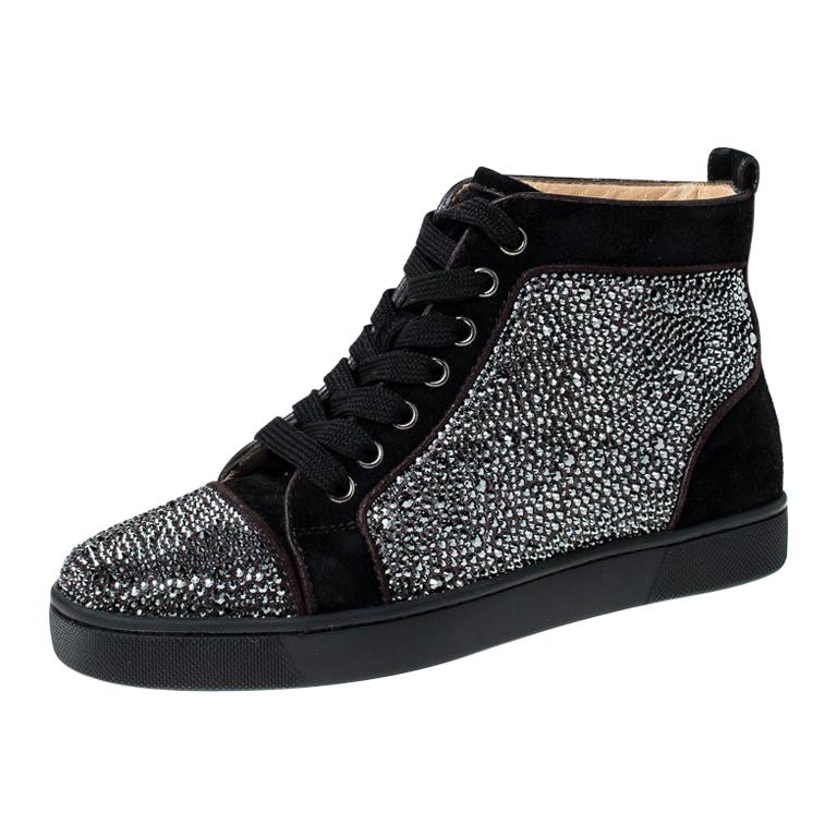 Christian Louboutin Black  Crystal Embellished High Top Sneakers Size 35 For Sale
