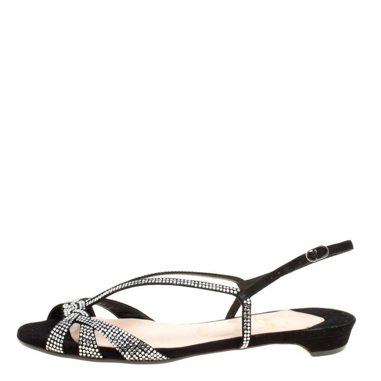 c47acd6da757e Black Crystal Embellished Suede Slingback Flat Sandals Size 36.5 For Sale  at 1stdibs