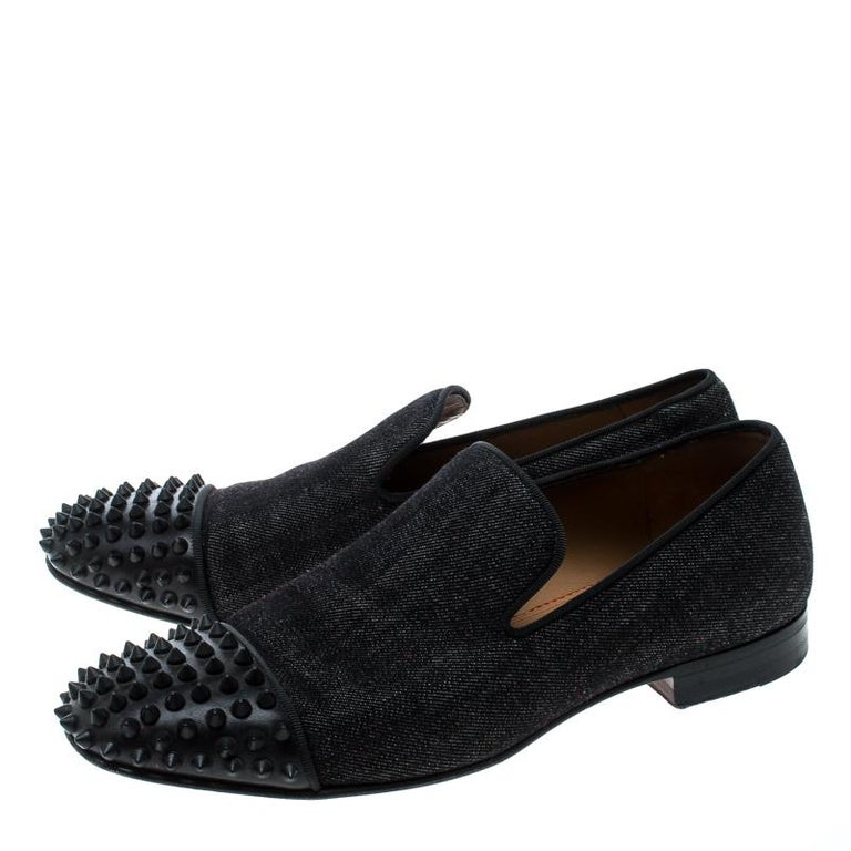 separation shoes 276f0 963c0 Christian Louboutin Black Denim Spike Loafers Size 40