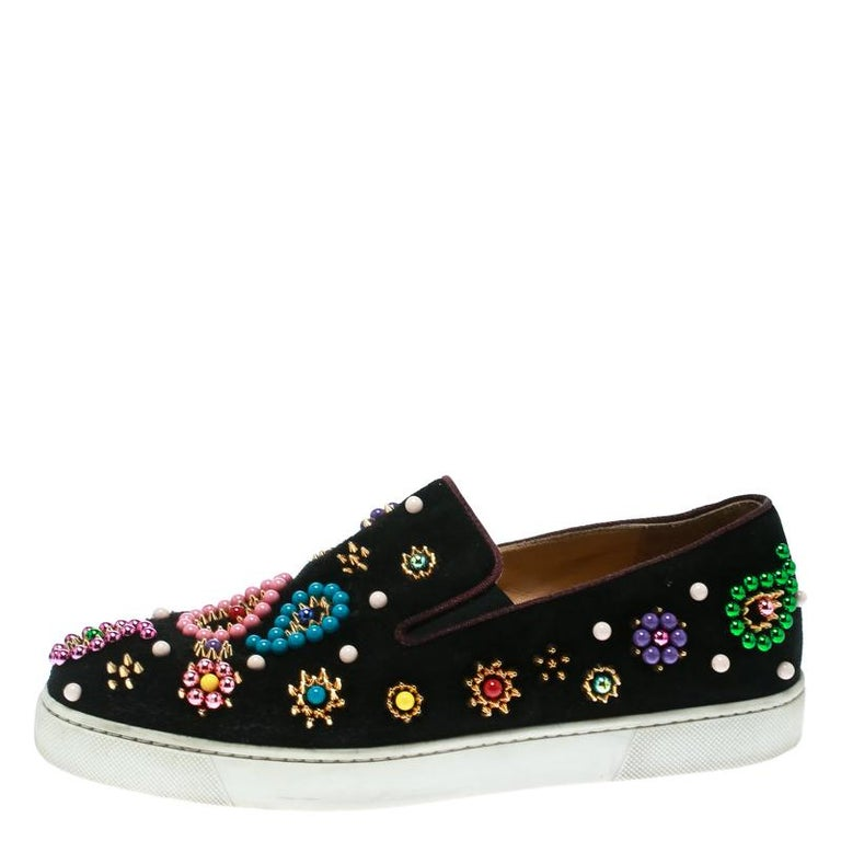 new product a9b8b 018ee Christian Louboutin Black Embellished Suede Boat Candy Skate Slip On  Sneakers Si