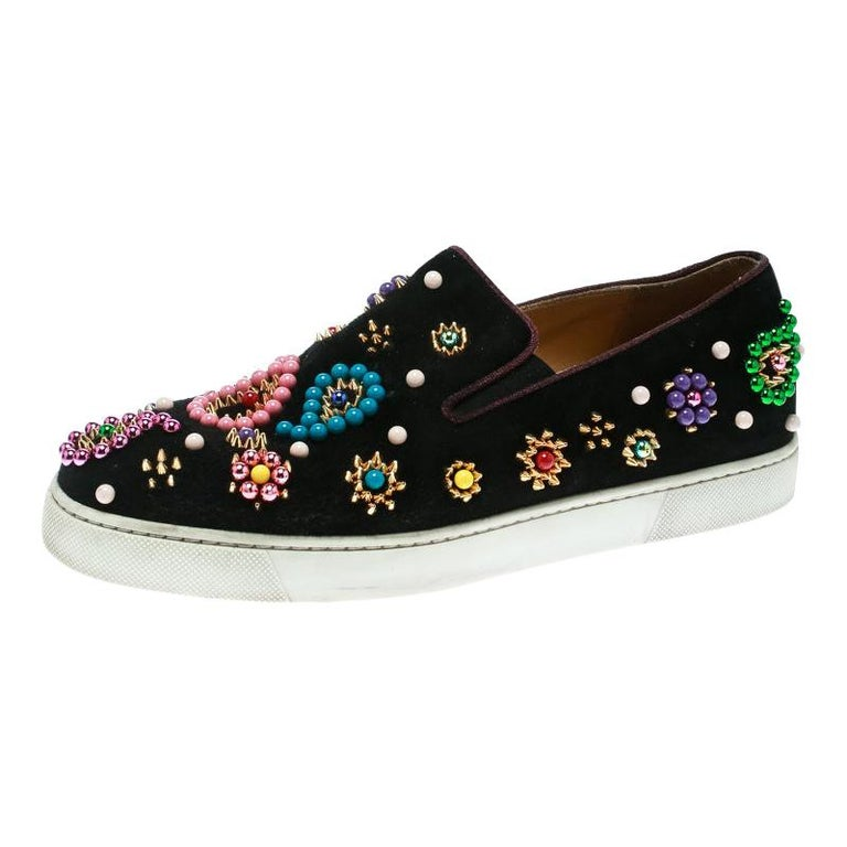 new product 1c355 e2c2a Christian Louboutin Black Embellished Suede Boat Candy Skate Slip On  Sneakers Si