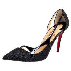 Christian Louboutin Black Glitter And Patent Leather D'orsay Pumps Size 36.5