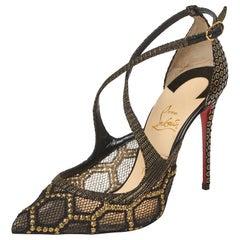Christian Louboutin Black/Gold Fabric And Mesh Twistissima Crisscross Size 37.5