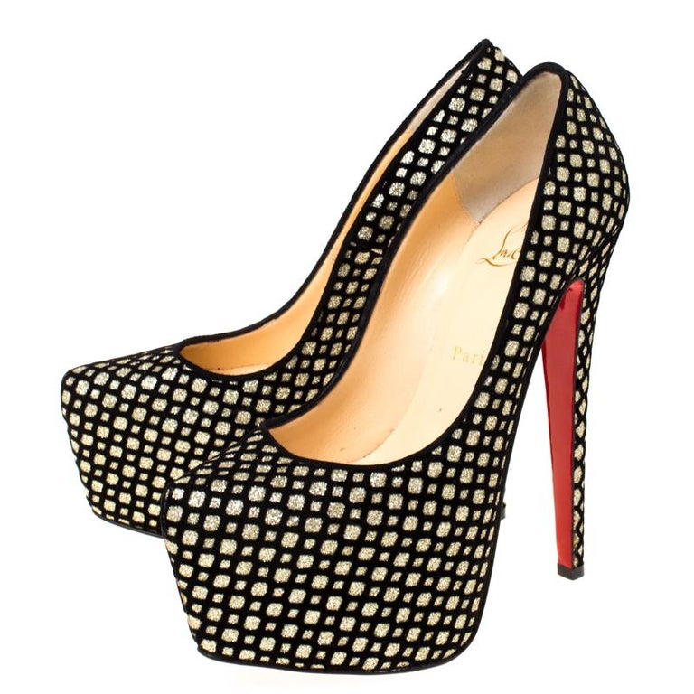 Christian Louboutin Black/Gold Glitter and Suede Platform Pumps Size 38.5 1