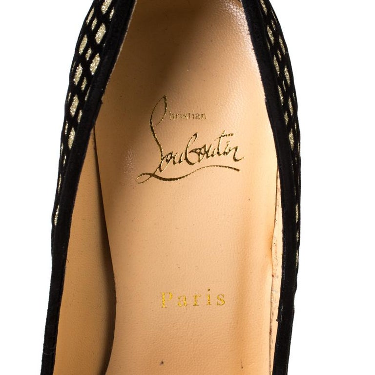 Christian Louboutin Black/Gold Glitter and Suede Platform Pumps Size 38.5 2