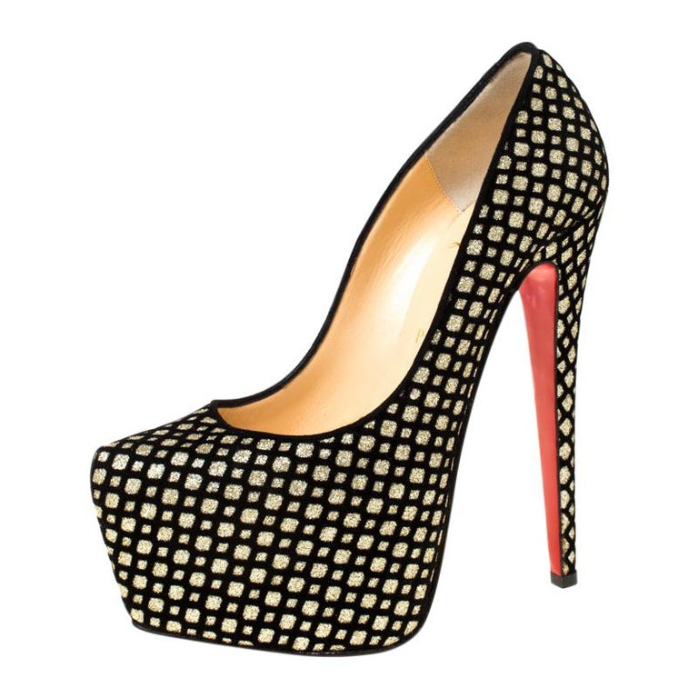 Christian Louboutin Black/Gold Glitter and Suede Platform Pumps Size 38.5