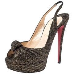Christian Louboutin Black/Gold Glitter Fabric Jenny Knotted Size 39.5