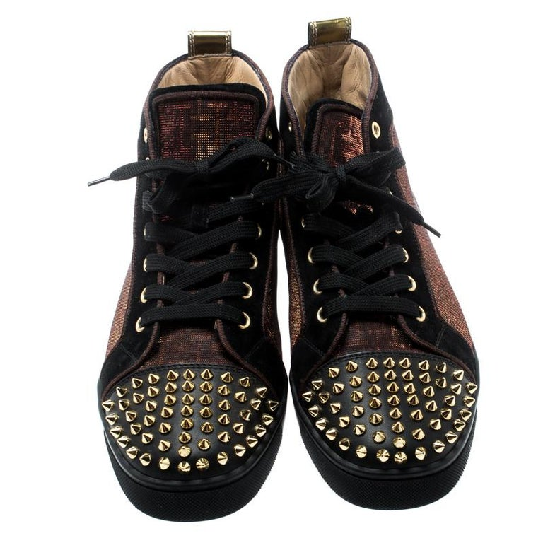 on sale ab2d1 2dcda Christian Louboutin Black/Gold Holographic Lou Spikes High Top Sneakers  Size 41