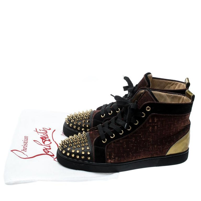on sale 2cdfa 219db Christian Louboutin Black/Gold Holographic Lou Spikes High Top Sneakers  Size 41